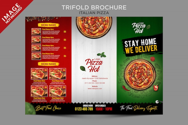 Italian pizza trifold template series