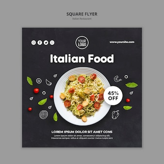 Italian restaurant ad square flyer template
