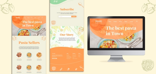 Italian restaurant concept with computer Free Psd