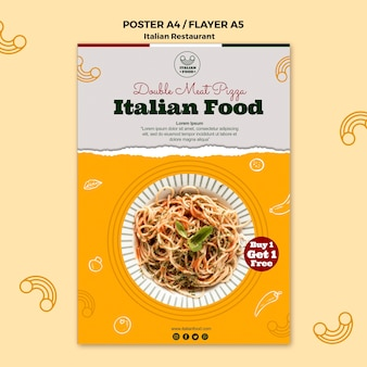 Italian restaurant flyer with offer