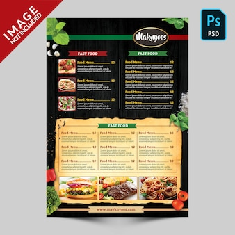 Italian restaurant food menu back side template