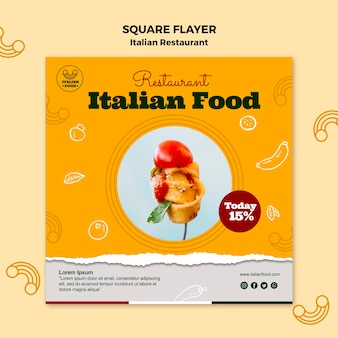 Italian restaurant square flyer with discount