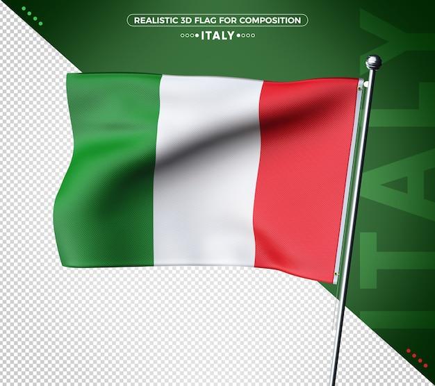 3d флаг италии с реалистичной текстурой