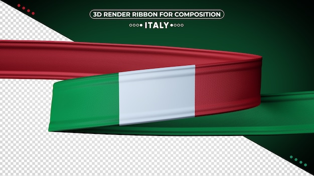 Italy 3d render ribbon for composition