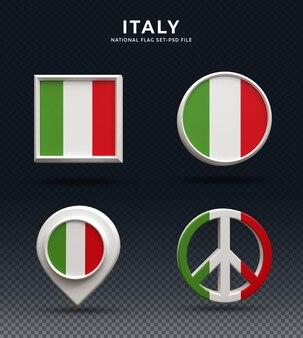 Кнопка купола 3d рендеринга флаг италии и на глянцевой основе