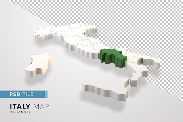 Italy map a 3d render isolated with campania italian regions