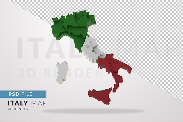 Italy map a 3d render isolated with colors flags of italian regions