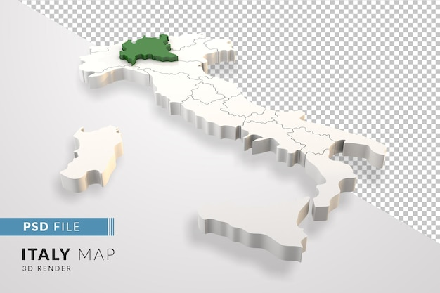 Italy map a 3d render isolated with lombardia italian regions