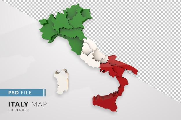 イタリアは、イタリアの地域のカラーフラグで分離された3dレンダリングをマップします。上面図