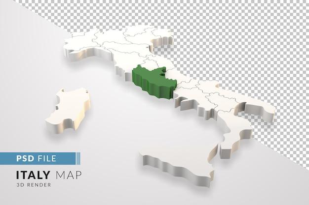 イタリアは、ラツィオのイタリアの地域で分離された3dレンダリングをマップします