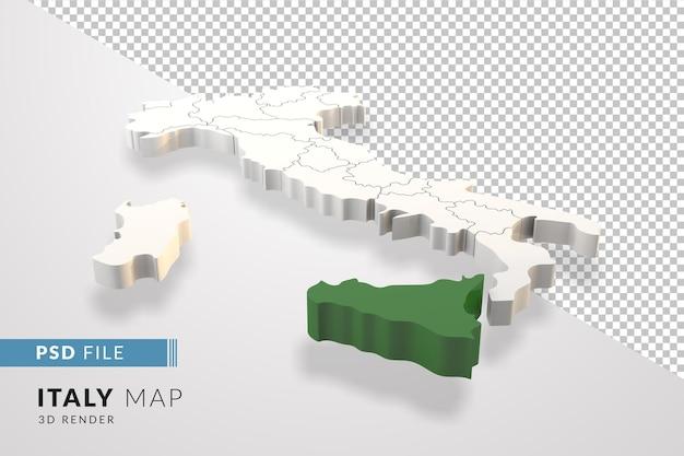 イタリアは、シチリアのイタリアの地域で分離された3dレンダリングをマップします