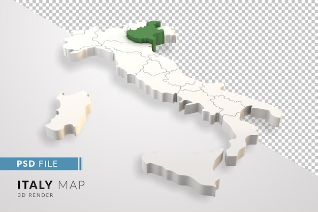 イタリアは、ヴェネトのイタリアの地域で分離された3dレンダリングをマップします