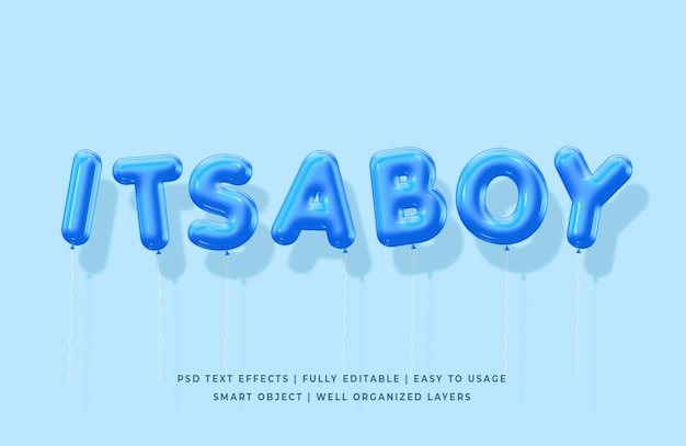 Its a boy 3d balloons text style effect mockup