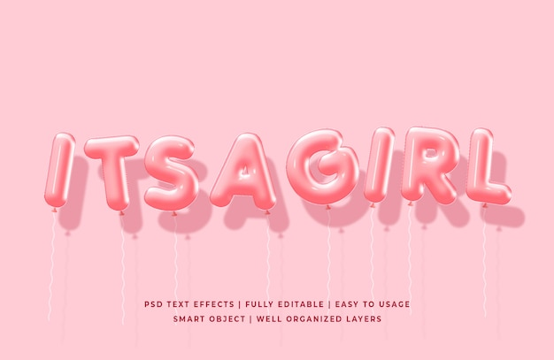 Its a girl 3d balloons text style effect mockup