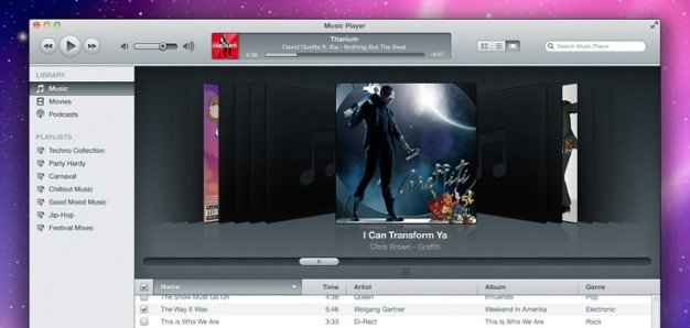 Itunes inspired music player  psd