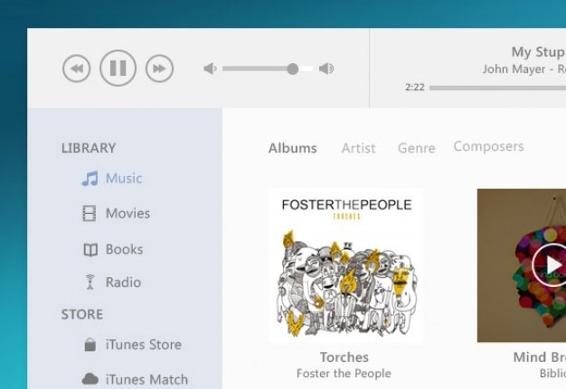 Itunes music player flat style