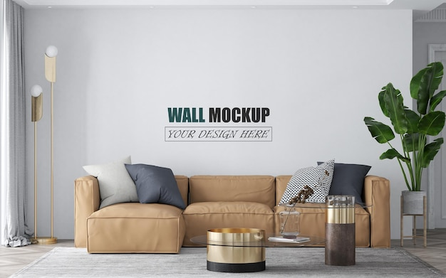 Iving room with light brown sofa wall mockup
