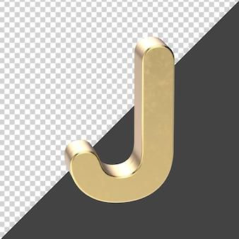 J заглавная буква золотая рендеринг изолированные