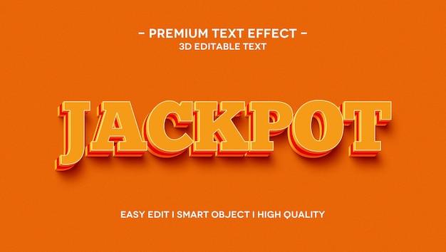 Jackpot 3d text effect template Premium Psd