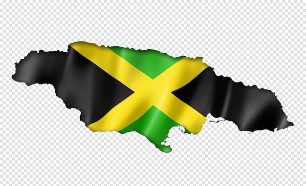 Jamaica flag map in three dimensional render isolated