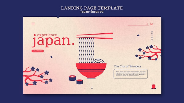 Шаблон дизайна целевой страницы в японском стиле