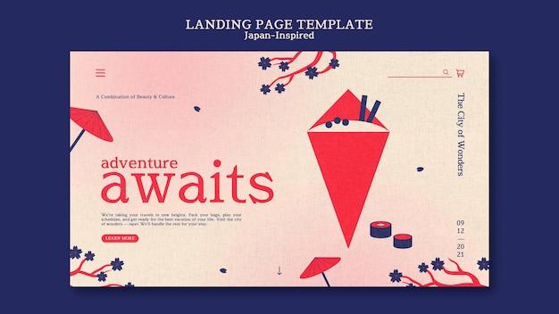 Modello di design della pagina di destinazione ispirato al giappone