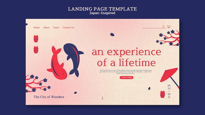 Japan inspired landing page design template