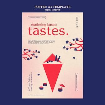 日本にインスピレーションを得たポスターデザインテンプレート