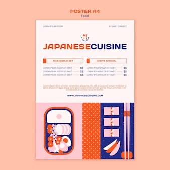 Japanese cuisine a4 poster template