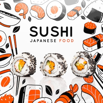 Japanese cuisine at restaurant with sushi