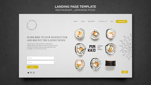 Japanese food landing page template