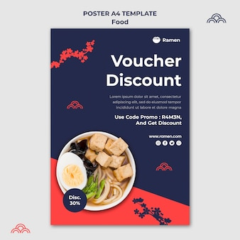 Japanese food voucher poster template
