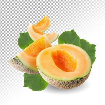 Japanese melons slice isolated