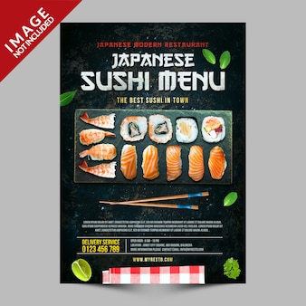 Japanese sushi menu poster template