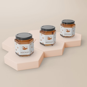 Jar container with honey mock-up
