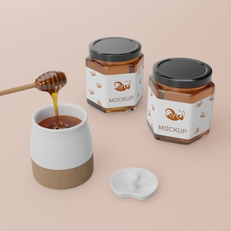 Jar container with honey