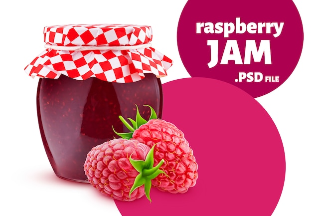Jar of raspberry fruit jam isolated on white wall