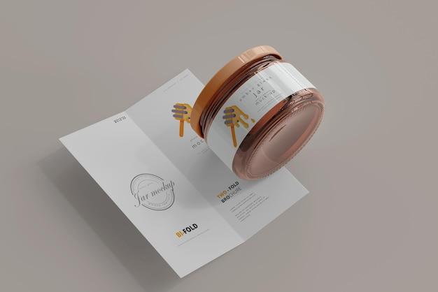 Jar with bi-fold brochure mockup