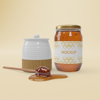 Jar with organic honey on table