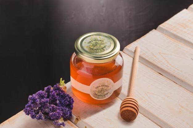 Jar with organic honey