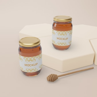 Jars with natural honey