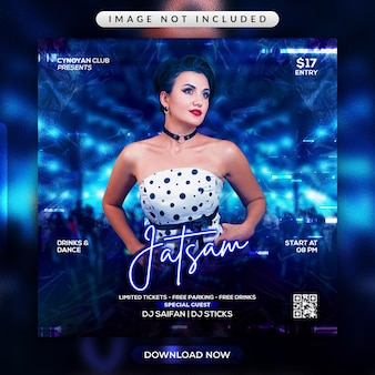 Jatsam party flyer or social media promotional template