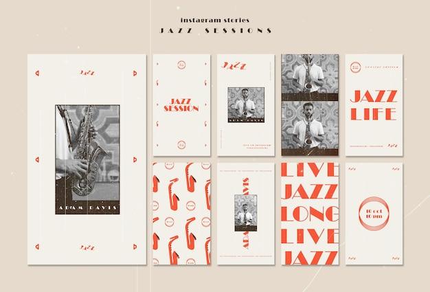 Modello di storie di instagram di concetto di jazz