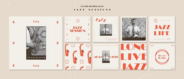 Modello di post sui social media di concetto di jazz