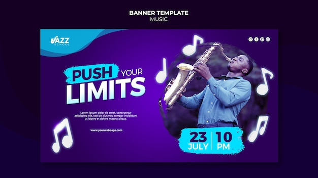 Jazz concert banner template