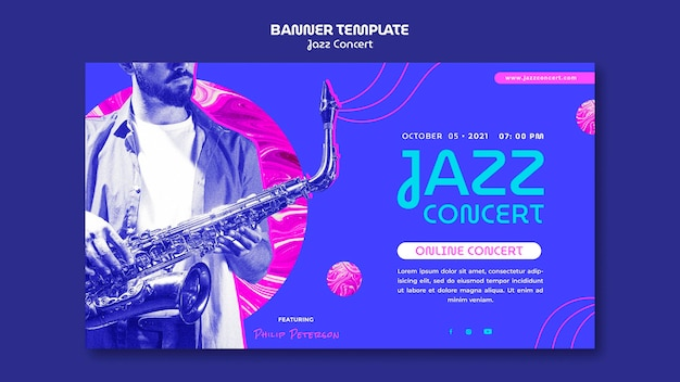 재즈 콘서트 가로 배너 템플릿 무료 PSD 파일