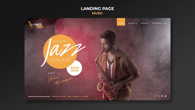 Jazz concert landing page template