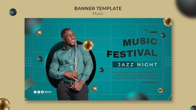 재즈 음악 축제 배너 서식 파일