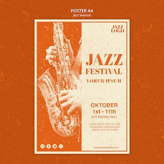 Jazz sessions poster template