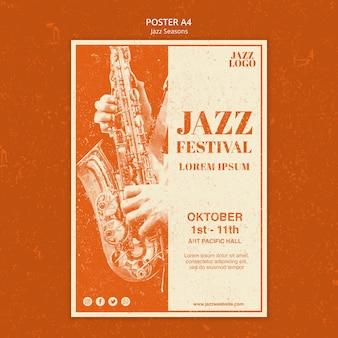 Modello di poster di sessioni jazz